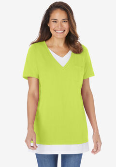 Layered-Look Tunic, LIME