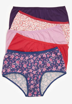 5-Pack Stretch Cotton Full-Cut Brief by Comfort Choice®, ORCHID FLORAL MIX PACK
