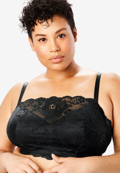 Wireless Floral Lace Bra by Comfort Choice®, BLACK
