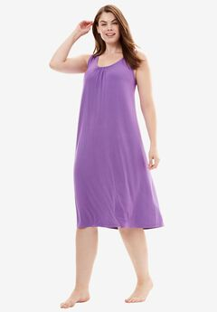 Strappy Jersey Chemise, VIOLET BLOOM, hi-res