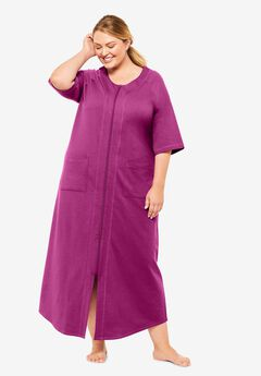 Long French Terry Zip-Front Robe by Dreams & Co.®, RICH MAGENTA