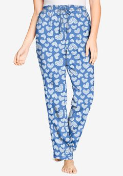 Knit Sleep Pant by Dreams & Co.®, FRENCH BLUE HEART