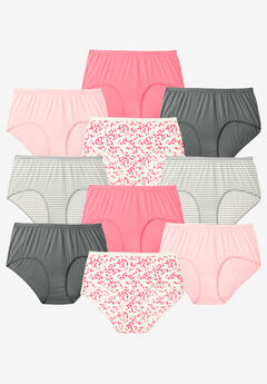 10-Pack Pure Cotton Full-Cut Brief by Comfort Choice®, ROSE HEARTS PACK