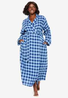 Long Flannel Robe by Dreams & Co.®, EVENING BLUE PLAID