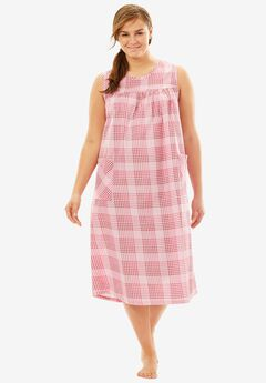 Sleeveless Print Lounger by Only Necessities®, PINK PLAID, hi-res