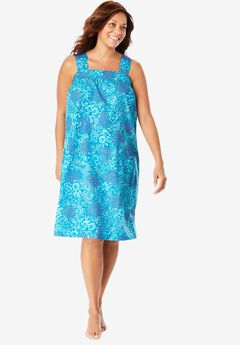 Print Sleeveless Square Neck Lounger by Dreams & Co.®, DEEP TEAL PAINTED FLORAL