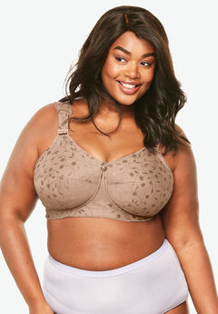 Wireless Full-Coverage Jacquard Embroidered Bra by Elila®, MOCHA