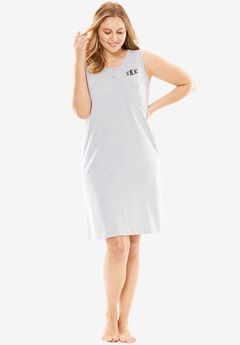 Monogrammed 3-button sleeveless Henley sleepshirt by Dreams & Co®, HEATHER GREY, hi-res