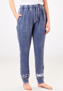 Burnout French Terry Jogger by Dreams & Co.®, NAVY, hi-res