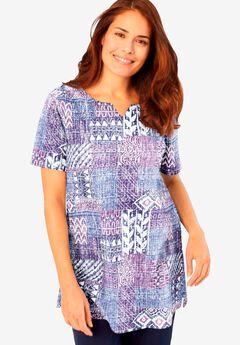 Print Patchwork Knit Tunic,