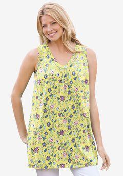 Perfect Printed Sleeveless Shirred V-Neck Tunic,