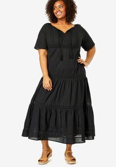 Crochet Trim Tassel-Tie Dress,