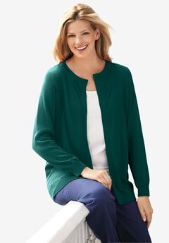 Perfect Long-Sleeve Cardigan, EMERALD GREEN