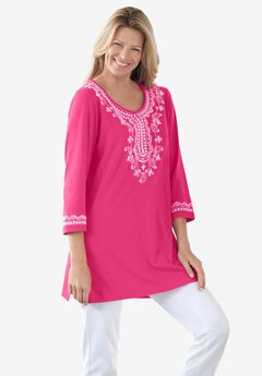 Embroidered Knit Tunic, RASPBERRY SORBET