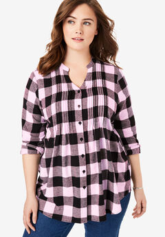 Pintucked Flannel Shirt, PINK BUFFALO PLAID