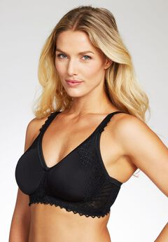 Wireless Lace-Trim T-Shirt Bra by Comfort Choice®, BLACK