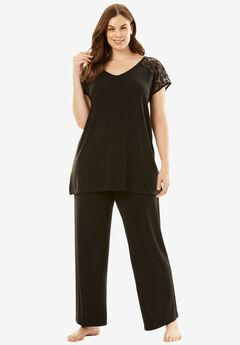 Lace-Trim Tee PJ Set with Wide Leg Pants by Amoureuse®, BLACK, hi-res