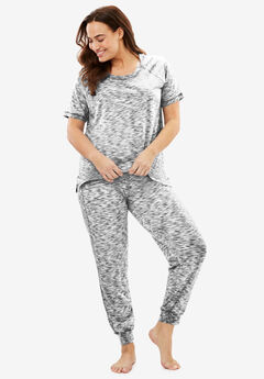 Knit Jogger PJ Set by Dreams & Co.®, BLACK, hi-res