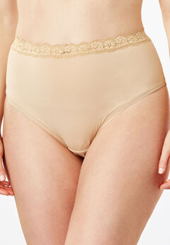 Lace-Trim High-Cut Microfiber Brief by Comfort Choice®, NUDE, hi-res