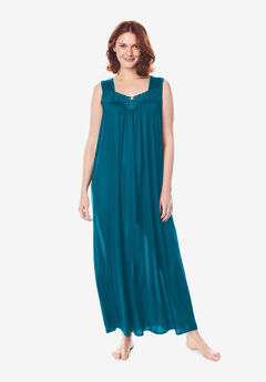Long Tricot Knit Nightgown , DEEP TEAL