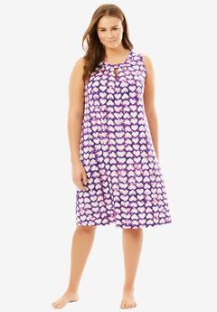 Printed Sleeveless Sleep Shirt by Dreams & Co®, PURPLE TIE DYE HEARTS, hi-res