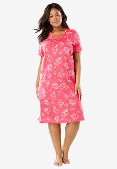 Short-Sleeve Henley Sleepshirt by Dreams & Co.®, PINK BURST COCOA