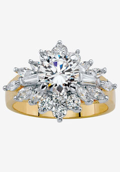 Yellow Gold Plated Round Starburst Ring Cubic Zirconia (3 5/8 cttw TDW),