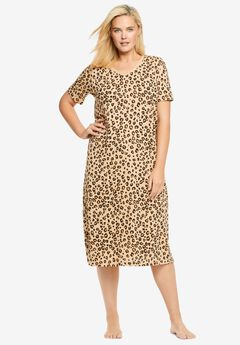 Long Print Sleepshirt by Dreams & Co.®, CLASSIC LEOPARD