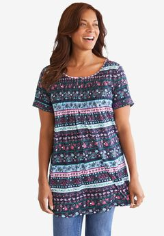 Short-Sleeve Pintucked Henley Tunic,