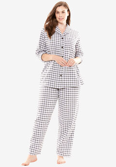 Plaid Flannel PJ Set by Dreams & Co.®, BRIGHT LILAC PLAID, hi-res
