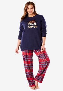 Fleece Sweatshirt & Pant Pajama Set by Dreams & Co.®, CLASSIC RED HOME