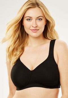 Wireless Cotton T-Shirt Bra by Comfort Choice®, BLACK