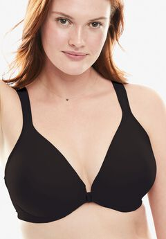 Front-Close Seamless T-shirt Bra by Leading Lady®, BLACK