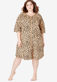 Short Sleeve French Terry Robe by Dreams & Co.®, CLASSIC LEOPARD PRINT