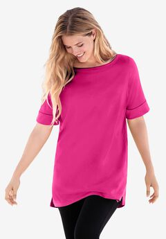 Perfect Cuffed Elbow-Sleeve Boat-Neck Tee, RASPBERRY SORBET