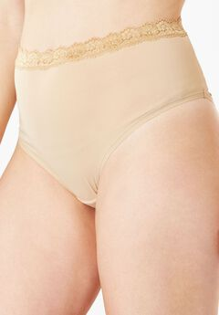 Lace-Trim Microfiber Full-Cut Brief by Comfort Choice®, NUDE, hi-res
