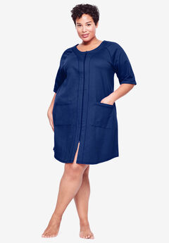 Short French Terry Zip-Front Robe by Dreams & Co.®, EVENING BLUE