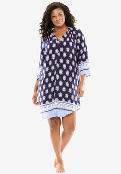 Button Sleepshirt, DUSTY NAVY MEDALLION, hi-res