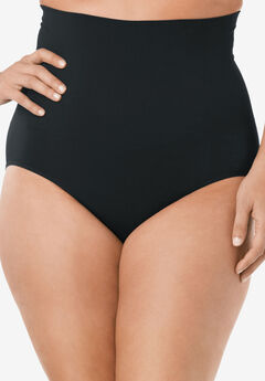 Seamless High Waist Brief , BLACK