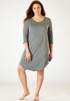 Solid Sleepshirt by Dreams & Co.®, MEDIUM HEATHER GREY