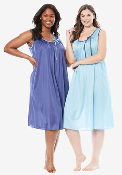 2-Pack Sleeveless Nightgown by Only Necessities®, CRYSTAL SEA ROYAL NAVY, hi-res