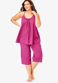 Breezy Eyelet Knit Tank & Capri PJ Set by Dreams & Co.®,