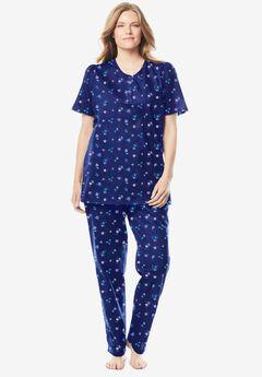 Floral Henley PJ Set by Dreams & Co.®, EVENING BLUE FLOWERS