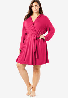 Short Hooded Robe by Dreams & Co.®, RASPBERRY