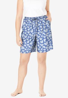 Print Pajama Shorts, FRENCH BLUE HEART