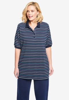 Elbow-Sleeve Tunic Polo Shirt,