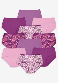 10-Pack Pure Cotton Full-Cut Brief by Comfort Choice®, MULTI FLORAL PACK