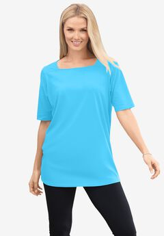 Perfect Elbow-Sleeve Square-Neck Tee,