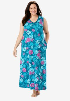 Trapeze V-Neck Lounger by Dreams & Co®, DEEP TEAL FLOWER