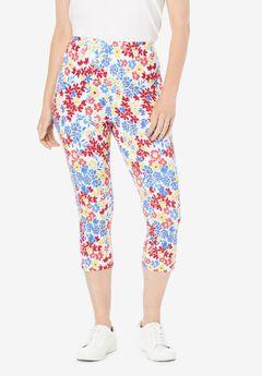 Stretch Cotton Printed Capri Legging,
